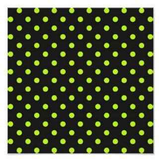 Black and Lime Green Polka Dot Photo Print