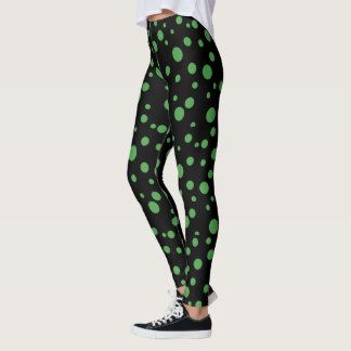 Black and Lime Green Polka Dotted Leggings