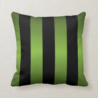 Black and Lime Green Stripes Cushion