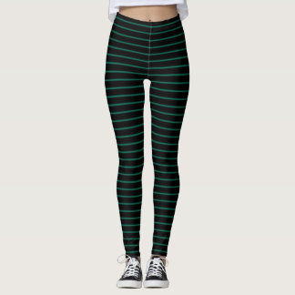 Black and Lush Meadow Stripes Leggings