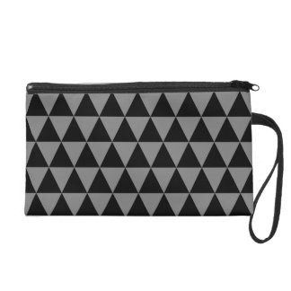 Black and Medium Gray Geometric Triangles Wristlet