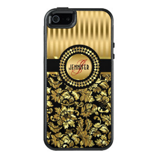 Black And Metallic Gold Damasks OtterBox iPhone 5/5s/SE Case