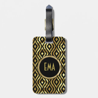 Black And Metallic Gold Geometric Pattern Luggage Tag
