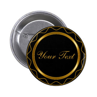 Black and Metallic Gold with DIY Text 6 Cm Round Badge