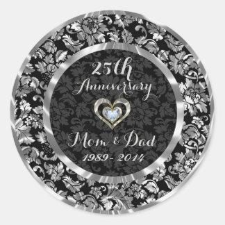Black And Metallic Silver 25th Wedding Anniversary Classic Round Sticker