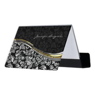 Black And Metallic Silver Damask Desk Business Card Holder