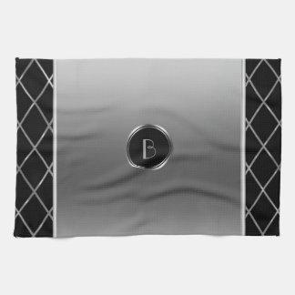Black And Metallic Silver Geometric Design Tea Towel