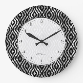 Black And Metallic Silver Geometric Pattern Large Clock
