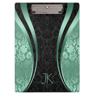 Black And Mint-Green Geometric Floral Damasks Clipboard