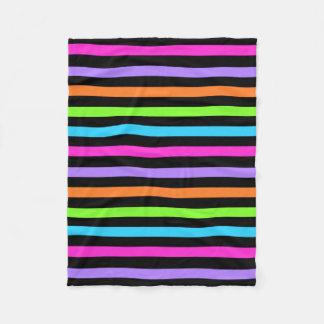 Black and Multi Striped Fleece Blanket