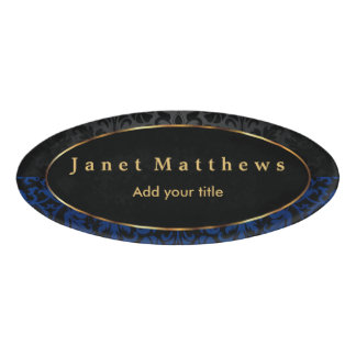 Black and Navy Blue Damask with Gold Trim Design Name Tag