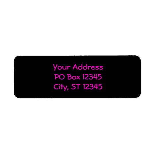 Black and Neon Pink Return Address Label