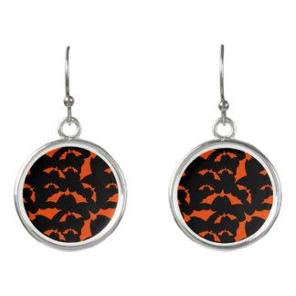 black and orange bats halloween pattern earrings