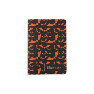 black and orange bats halloween pattern passport holder