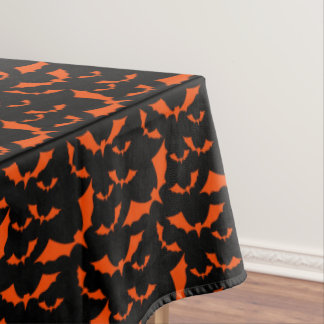 black and orange bats halloween pattern tablecloth