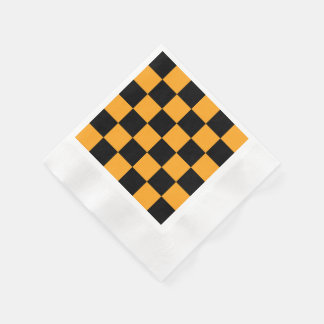 Black and Orange Check Pattern Disposable Serviettes