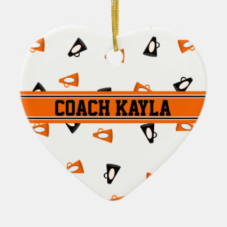 Black and Orange Cheer Megaphones Personalized Ceramic Heart Decoration