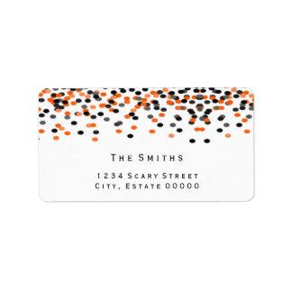 Black and orange confetti address label