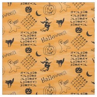 Black and Orange Halloween Fun Font Art Collage Fabric