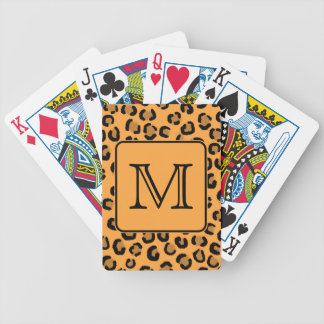 Black and Orange Leopard Print. Custom Monogram. Bicycle Playing Cards