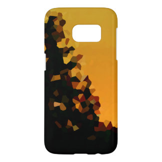 Black and Orange Pixel Mosaic Shape Abstract