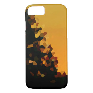 Black and Orange Pixel Mosaic Shape Abstract iPhone 8/7 Case