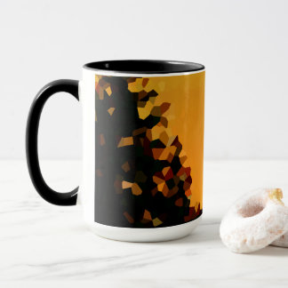 Black and Orange Pixel Shape Abstract Mug
