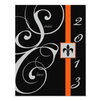 "Black and Orange Scroll Ribbon Graduation 4.25"" X 5.5"" Invitation Card"
