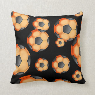 Black and orange Soccer Design Throw Pillow