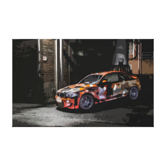Black and Orange Street Racing Car in Alley Canvas