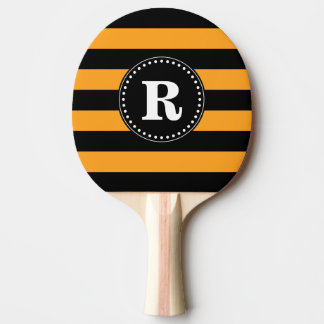 Black and orange stripes pattern ping pong paddle