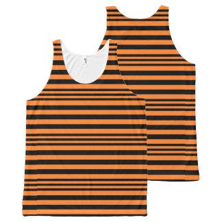Black and Orange Stripes X 3 All-Over Print Singlet