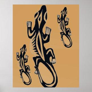 Black and Orange tribal style lizard Poster
