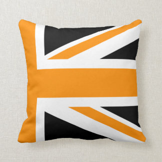 Black and Orange Union Jack Half Cushion