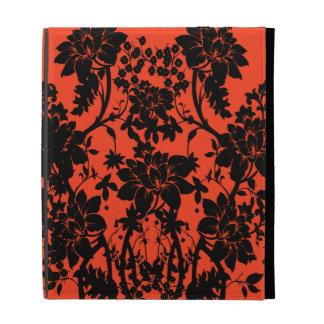 Black and orange vintage style floral design iPad case