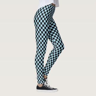 Black and Pastel Blue Checkered Pattern Leggings
