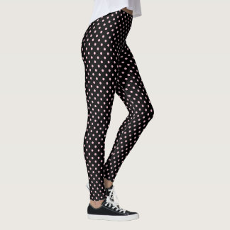 Black And Pastel Pink Polka Dot Pattern Leggings