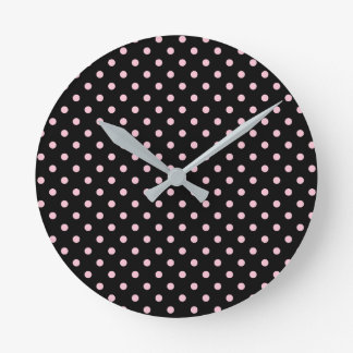 Black And Pastel Pink Polka Dot Pattern Wall Clock
