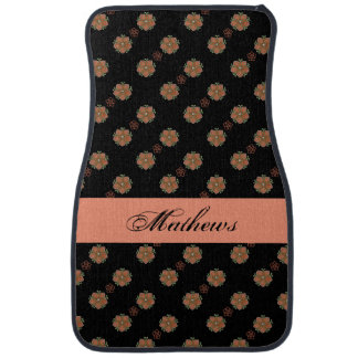 Black and Peach Floral Custom Car Mat Set