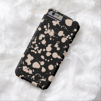 Black and Peach Splatter Paint Art Barely There iPhone 6 Case