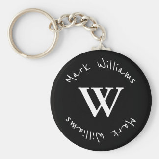 black and personalized basic round button key ring
