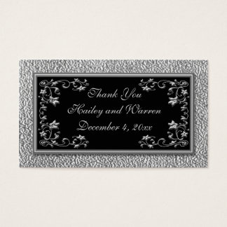 Black and Pewter Wedding Favor Tags Business Card