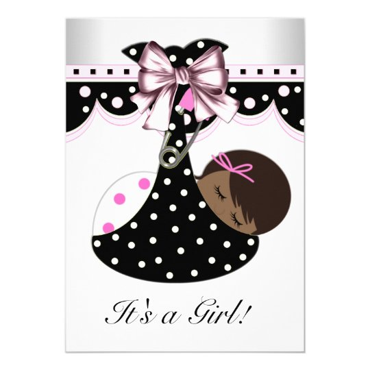 Black and Pink Baby Shower Card