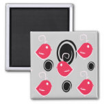 black and pink bird pattern magnet