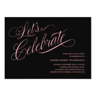 Black and Pink Birthday Invitations