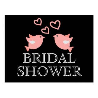 Black And Pink Bridal Shower Lovebirds Wedding Postcard