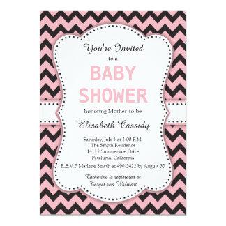 Black and Pink Chevron, Baby Shower 13 Cm X 18 Cm Invitation Card