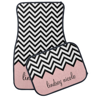 Black and Pink Chevron Monogram Floor Mat