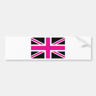 Black and Pink Classic Union Jack British(UK) Flag Bumper Stickers