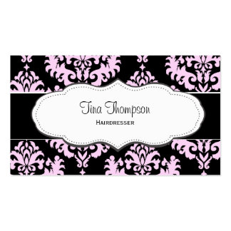Black and Pink Damask Business Cards